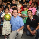 The kids had lots of fun winning Makita footballs.