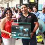 Winner of cordless Makita tool set in raffle.